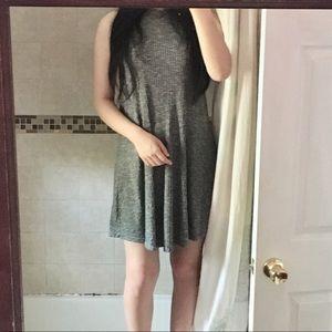 halter neck ribbed dress